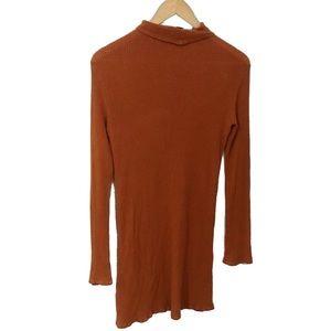 Reformation Ribbed Orange Turtleneck Sweater Dress